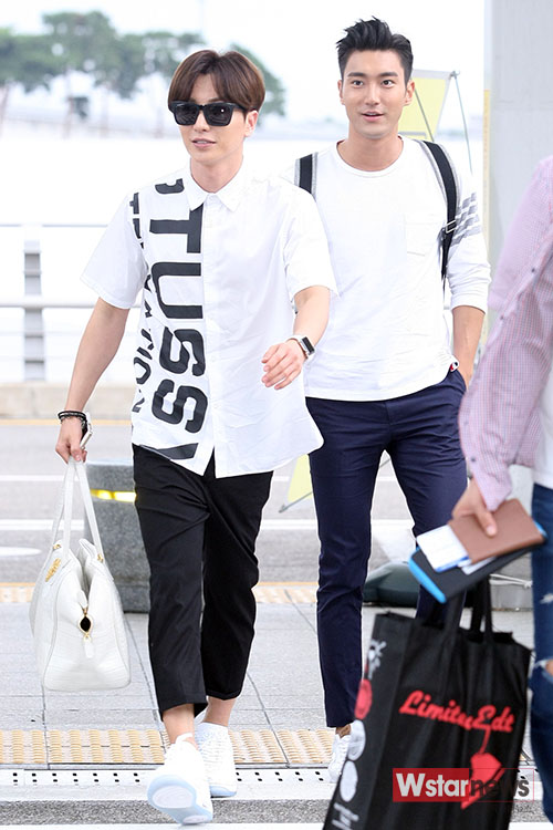 150724 Official, Leeteuk and Siwon at Incheon Airport (to Osaka)11